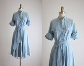 distressed chambray shirtdress