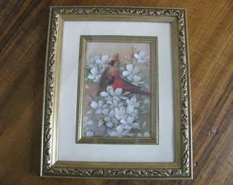 3-D Paper Decoupage Framed Picture of Cardinals and Cherry Blossoms