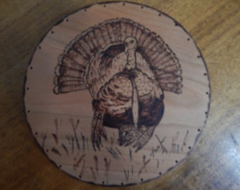 Wood Burnt Image of a Turkey Basket Bottom or Other Craft Projects