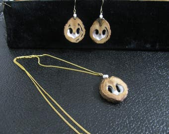 Handcrafted Black Walnut Heart Shell Pierced Earring and Necklace Set
