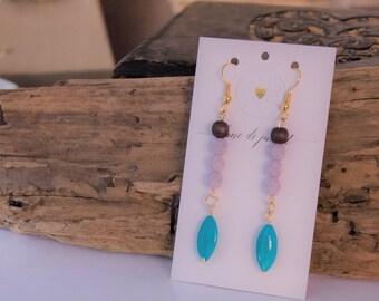 Viollet turquoise boucles d'oreille bohème gypsie zen bois