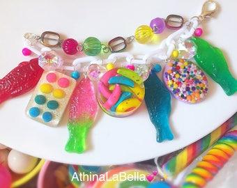 Candy Charm Bracelet, Gummy Fish Bracelet, Candy Jewelry, Candy Bracelet, Kitsch Jewelry, Resin Jewelry