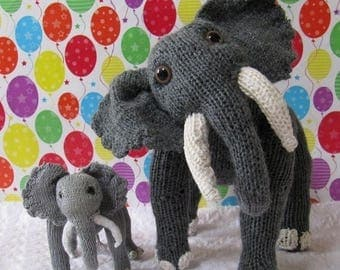 50% OFF SALE Instant Digital File PDF Download Elsie Elephant and Baby Elvis Toy pdf knitting pattern - madmonkeyknits