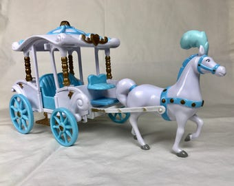 Disney Cinderella's Wedding Carriage or Horse Drawn Coach in Blue and White Plastic