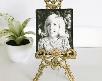 Vintage Brass Picture Easel Display, Photo Display, Home Decor, Book Music Holdee