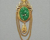 Florenza Asian Influence Draped Chain Brooch