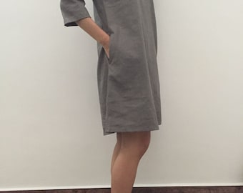 Linen Pocket Tunic Dress/V neck dress/ Gray linen Tunic Dress/ Loose fit Dress/ Gift for her/In Light Gray
