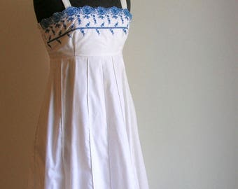 Vintage 70's White Sundress with Blue Embroidered Eyelet Design Paper Moon by Yvette