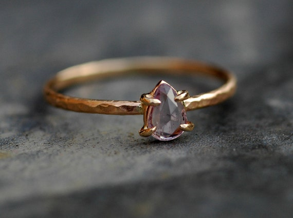 ON SALE- Rose Cut Pink Purple Lavender Sapphire in 14k Yellow Gold Ring- Ready to Ship Size 7.5