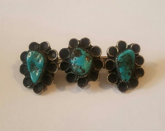 Native American Navajo Sterling Silver and Turquoise Triple Concho Hair Barrette circa 1970s