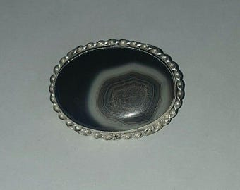 Sterling Silver and Natural Botswana Agate Hair Barrette