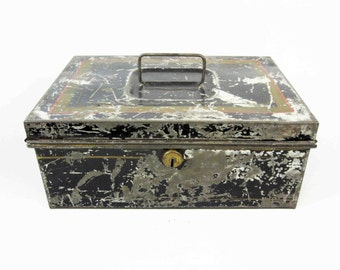 Vintage Metal Lock Box in Black with Pinstripes. Circa 1910's - 1920's.
