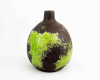 Vintage Mid Century Stoneware Studio Pottery Vase in Green and Brown Glaze. Circa 1960's.