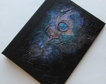 Handmade Refillable Journal black metallic blue nebula 8x6 Original