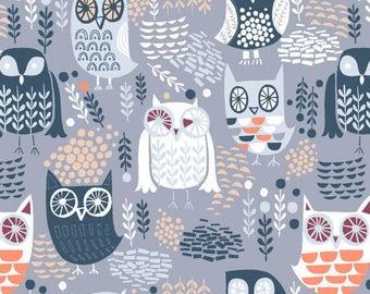 Dear Stella Fabric The Big Chill Owls in Grey, Choose your cut