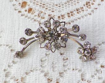 Vintage Clear Rhinestone Flower Spray Brooch / Pin / Broach, Silver Tone Metal, Rhinestones, Bride / Bridal / Evening / Prom