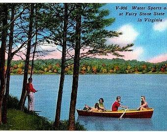 Vintage Virginia Postcard - Boating and Fishing on Fairy Stone Lake (Unused)