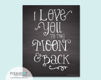 Love You to the Moon Chalkboard Style Framable Print