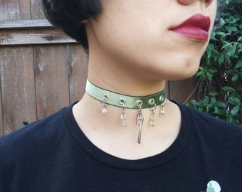 Sage Velvet Ribbon Choker with Oxidized Crystal/Square Ball Glass details