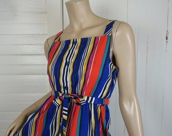 Bright Striped Sundress- 70s / 80s Cotton- Disco- Rainbow Colors- Petite Small