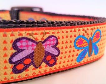 Butterflies - Dog Collar / Handmade / Adjustable / Martingale / Pet Accessories / Large Dog Collar / Pet Lover / Dog Collars