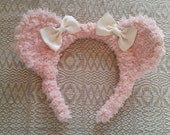 Pastel Pink Fuzzy Bear Ear Headband