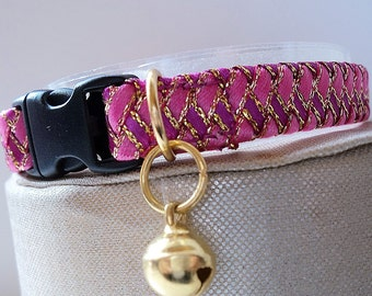 Girl Kitten Collar / Small Cat Collar in Two Tone Pink and Gold