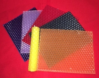 "Honeycomb Beeswax Candle Making Kit. 5"" x 4"" sheets. Set of 6."