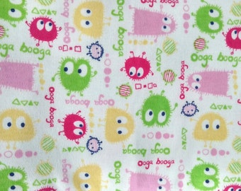 """100% Cotton Interlock Knit Fabric, Pink and Green Ooga Booga For Baby Girl  57"""" x 27""""  Cotton Fabric for Bibs, Diapers or Wipes"""