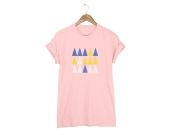 Geo Memphis Triangle Forest Tee - Boyfriend Fit Crew Neck Cotton Tshirt with Rolled Cuffs in Peach and Multi Colors - Women's Size S-5XL