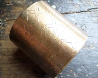 "Bronze Cuff Bracelet, 2"" Wide Textural Handwrought Native Ethnic Tribal Urban Industrial Golden Bronze Bracelet, Handmade Metalsmith Cuff"