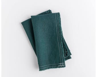 Wild green napkins. Set of 2. With a rustic and simple breeze these 100% linen napkins still classic and polished.