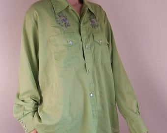 western shirt, pearl button shirt, rodeo shirt, western vintage, embroidery, horse shoes