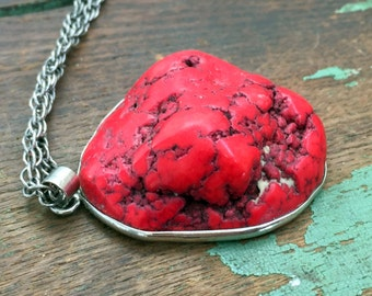 Vintage Large Red Chunky Howlite Pendant Necklace