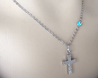 Evil eye cross necklace  -  turquoise eye - stainless steel - protection - Greek jewelry - Gift for her