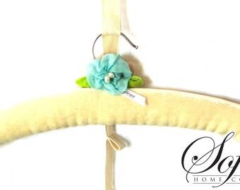 Cream Padded Hanger | Blue & Rose Flower Details | Single Hanger | Hand-Embroidered Leaf, Blossom Design | Made of No Slip, Upcycled Velvet