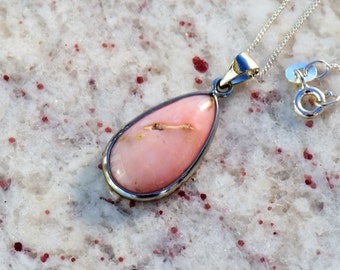 Natural Peruvian Pink Opal Teardrop Pendant Necklace with Sterling Silver Setting and Bail on Sterling Silver Giotto Link Chain