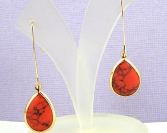 Howlite Earrings, Red Howlite Earrings, Gold Teardrop Earrings, Long Dangle Earrings