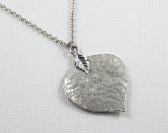Mothers Day Sale Silver Leaf Necklace,Leaf Necklace, Hammered Leaf Necklace,Simple Leaf Necklace