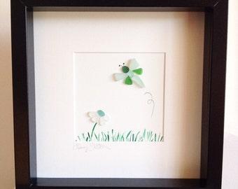 Irish Sea Glass Dragonfly and Flower Wall Art