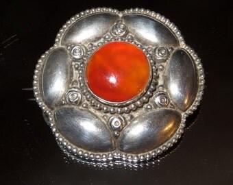 Jugendstil German Art Nouveau 800 Silver Brooch Pin C Clasp