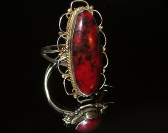 Red Jasper Mexico Sterling Silver Band Ring Size 8 1/2