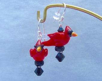 Cardinal Earrings - Lampwork Glass Beads- SRA