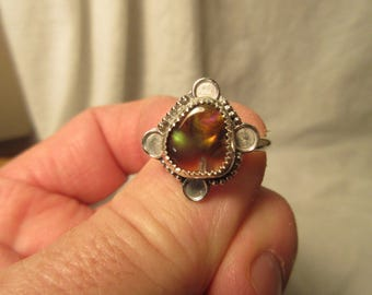 BIT of BRASING BEAUTY - Sterling Silver Mexican Fire Agate Ring - Size 10 - Free Resizing
