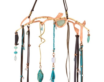 Up-cycled Copper Mobile, Brass Mobile, Wall hanging, Bohemian Mobile, Natural Gemstone Mobile, Modern Dreamcatcher,