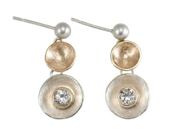 14kt and silver concave disk earrings