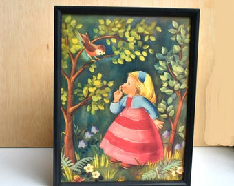 Vintage Girl Print Nursery Decor Girl's Room Art Retro Story Book Art Fairy Tale Print Girl Bird Painting Housewarming Gift Forest Art
