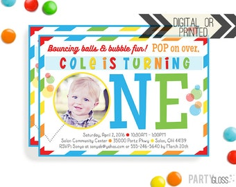 Boy Bubble Party Invitation | Digital or Printed | Bubbles and Balls Invitation | Bubble Party | Bouncing Balls Party | Bubble Bouncy Balls
