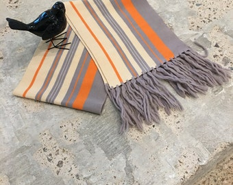 Vintage Scarf - Mid Century Colors Gray Orange Stripe - Striped Scarf - Spring Accessory - Fringe Fringed Scarf - Hipster - Long Scarf