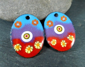 Colorful Floral Oval Enameled Copper Charms, Red Purple Blue Yellow Orange Enamel Earring Pair Jewelry Components 27 x 20 mm, Earring Beads